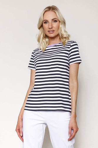 Kelly & Grace Weekend Tops Navy / XS / Short Sleeve Stripe Tee in Navy