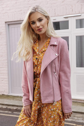 Rowen Avenue Jackets Suede Biker Jacket in Pink
