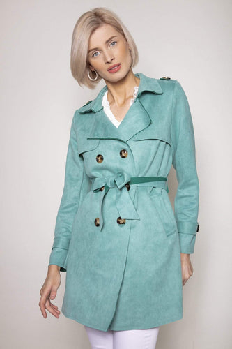 Pala D'oro Jackets Blue / S/M Suedette Trench Coat in Tiffany