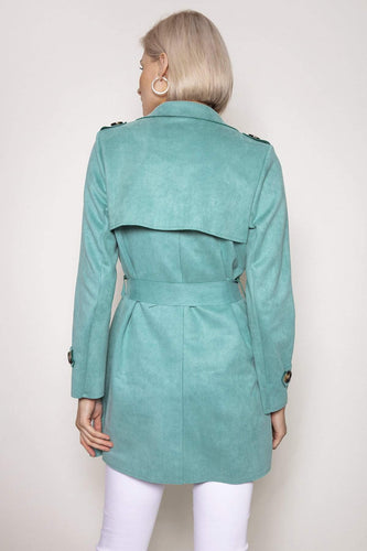 Pala D'oro Jackets Suedette Trench Coat in Tiffany