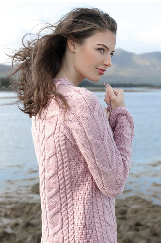 Aran Woollen Mills Jumpers Super Soft Raglan Sweater in Pink