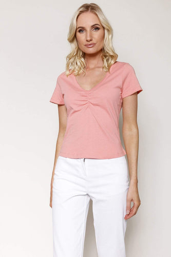 Kelly & Grace Weekend Tops Pink / XS / Short Sleeve Sweetheart Neck Tee in Melon