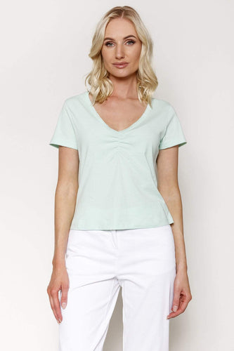 Kelly & Grace Weekend Tops Green / XS / Short Sleeve Sweetheart Neck Tee in Mint