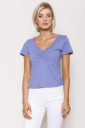 Kelly & Grace Weekend Tops Purple / XS / Short Sleeve Sweetheart Neck Tee in Purple