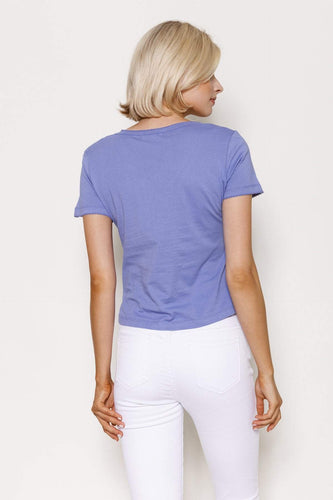 Kelly & Grace Weekend Tops Sweetheart Neck Tee in Purple