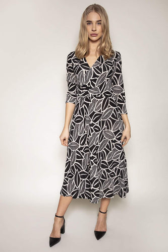 J'aime la Vie Dresses Black / 10 / Midi Swing Dress in Monochrome Print