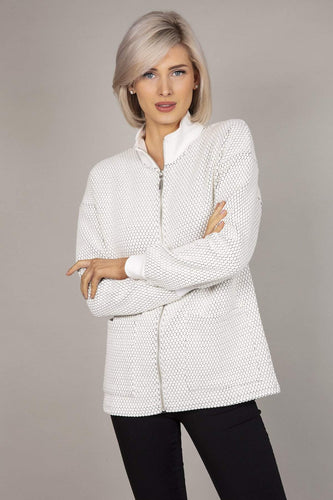Kelly & Grace Weekend Jackets White / S Textured Jacket in Ivory