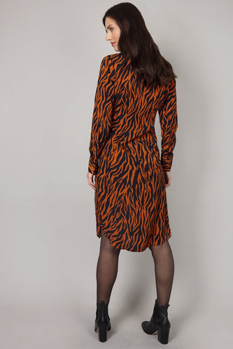 Nova of London Dresses Tiger Print Button Dress