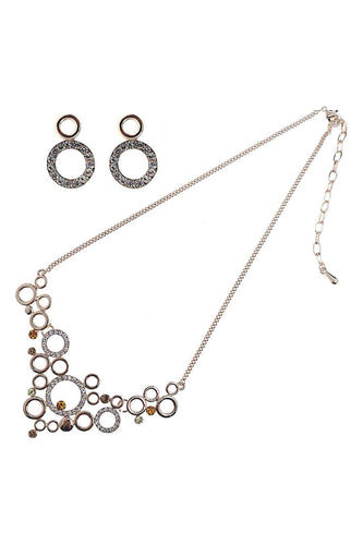 Soul Jewellery Jewellery Sets Rose Gold Topaz Circles Necklace & Earring Set- SOUL Special