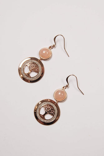 Joularie Earrings Rose Gold Tree of Life Pink Agate Rose Gold Earrings