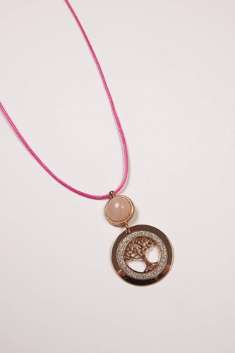 Joularie Necklaces Rose Gold Tree of Life Pink Agate Rose Gold Necklace