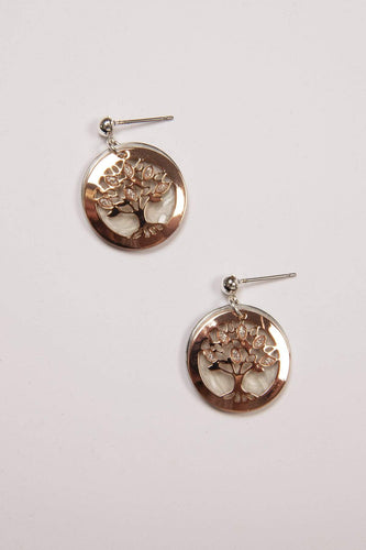 Joularie Earrings Rose Gold Tree of Life Rose Gold Earrings