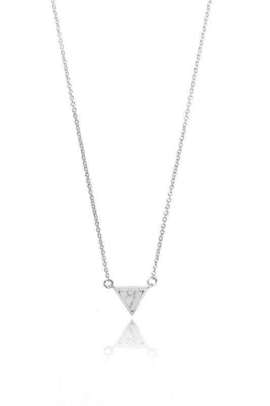 Cherish Necklaces Silver Triangle Marble Necklace in Silver
