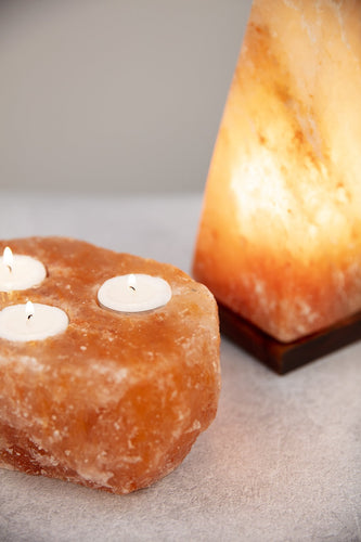 The Grange Candle Holders Triple Himalayan Salt Tea Light Holder