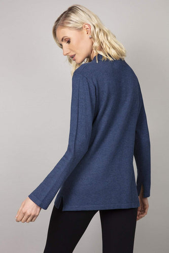 Kelly & Grace Weekend Jumpers Turtle Neck Knit in Denim