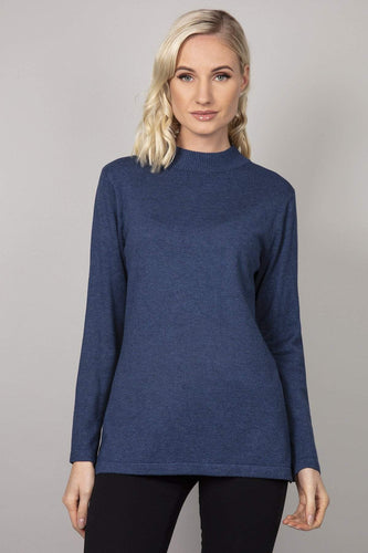 Kelly & Grace Weekend Jumpers Blue / S Turtle Neck Knit in Denim