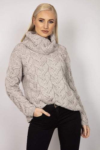 Aran Woollen Mills Jumpers Beige / S Turtle Neck Sweater in Beige