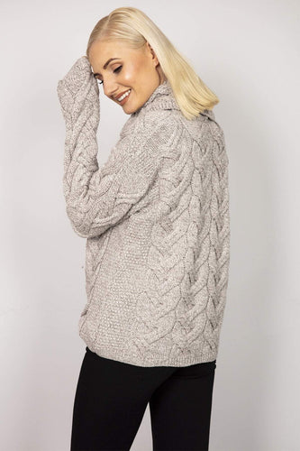 Aran Woollen Mills Jumpers Turtle Neck Sweater in Beige