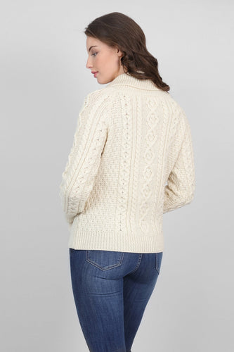 Aran Woollen Mills Jumpers Turtle Neck Sweater in Cream