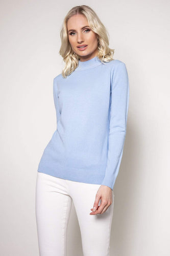 J'aime la Vie Jumpers Blue / One Turtleneck Knit in Light Blue
