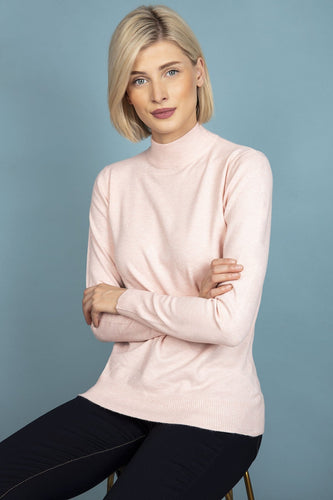 J'aime la Vie Jumpers Pink / One Turtleneck Knit in Pale Pink