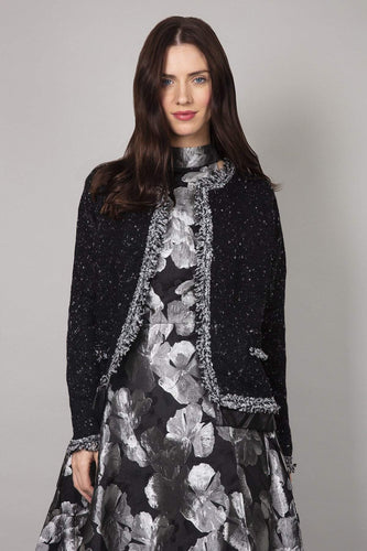 Mela London Jackets Black / S Tweed Cropped Jacket in Black
