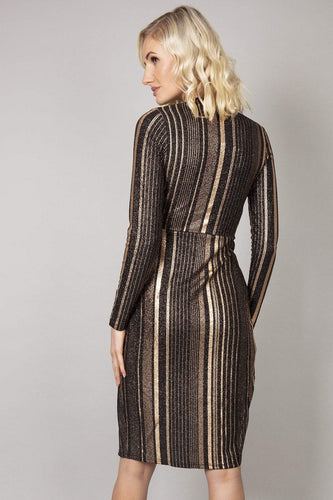 Nova of London Dresses Twist Front Dress in Gold