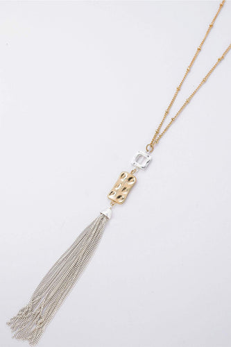 Pala D'oro Jewellery Necklaces Gold Two Tone Drop Tassel Necklace in Gold