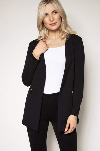 Mela London Jackets Black / 10 Two Zip Cover Up Jacket in Black
