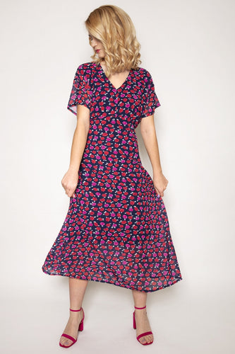 Pala D'oro Dresses V-Neck Fresh Floral Midi Dress in Navy