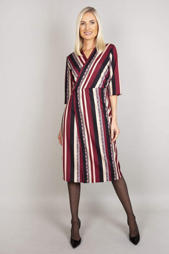 Pala D'oro Dresses Burgundy / S / Midi V-Neck Print Dress in Burgundy Stripe