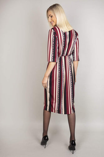 Pala D'oro Dresses V-Neck Print Dress in Burgundy Stripe