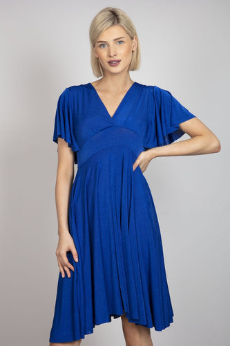 Pala D'oro Dresses Blue / S/M / Midi V-Neck Swing Dress in Blue