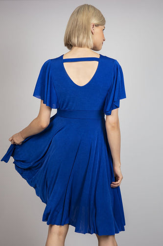 Pala D'oro Dresses V-Neck Swing Dress in Blue