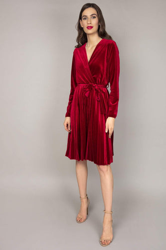 Pala D'oro Dresses Red / S/M Velvet Pleated Dress in Red
