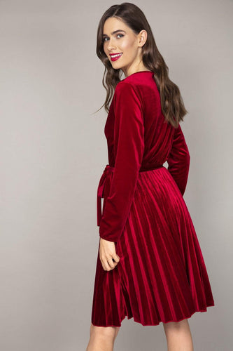 Pala D'oro Dresses Velvet Pleated Dress in Red
