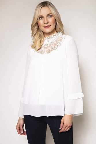 Pala D'oro Tops Ecru / S/M / Long Sleeve Vintage Lace Top in Ecru