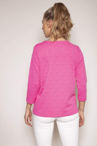 Kelly & Grace Weekend Jumpers Waffle Crew Neck Tee in Pink