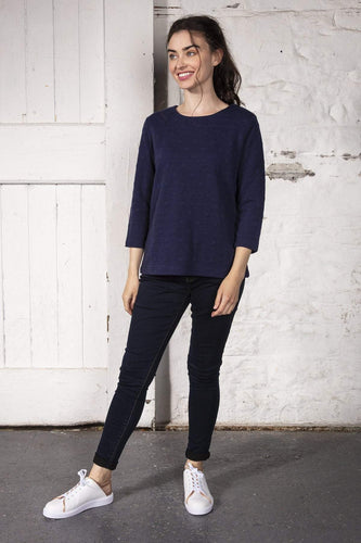 Kelly & Grace Weekend Jumpers Navy / S Waffle Tee in Navy