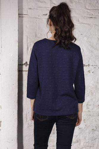 Kelly & Grace Weekend Jumpers Waffle Tee in Navy