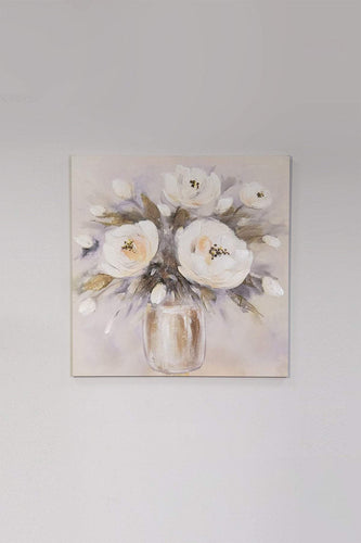 Carraig Donn HOME Wall Art White Rose Bouquet Canvas Art Wall Decor 60 x 60