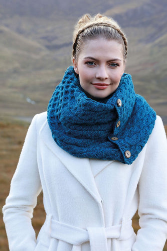 Aran Woollen Mills Scarves Blue / One Women's 3 Button Merino Wool Snood in Blue