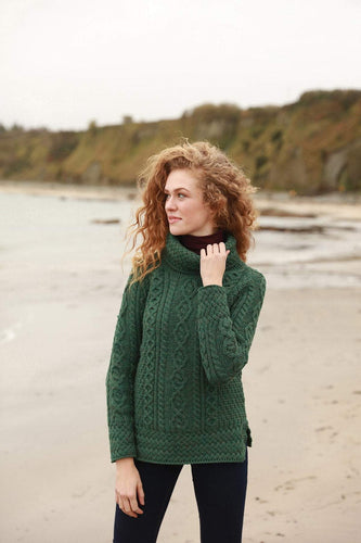 Aran Woollen Mills Sweaters Green / S Women's Merino Wool Cowl Neck Sweater in Green
