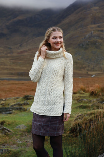 Aran Woollen Mills Sweaters White / S Women's Merino Wool Cowl Neck Sweater in White