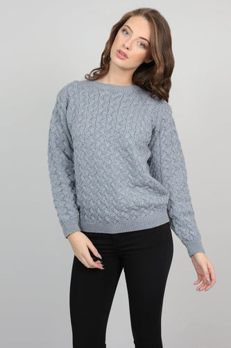 Aran Woollen Mills Jumpers Grey / S Womens Cable Weave Crew Neck Jumper in Soft Grey