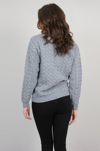 Aran Woollen Mills Jumpers Womens Cable Weave Crew Neck Jumper in Soft Grey