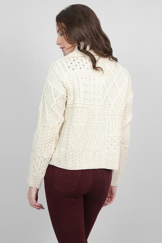 Aran Woollen Mills Cardigans Womens One Button Cardigan in Cream