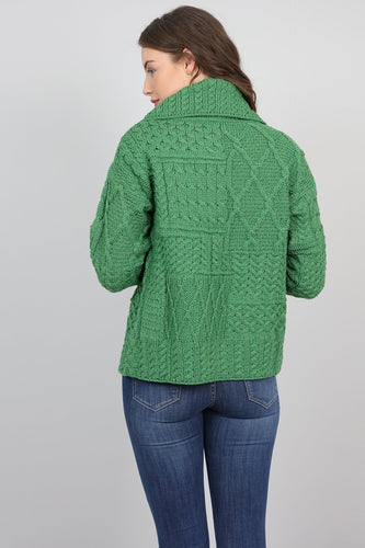 Aran Woollen Mills Cardigans Womens One Button Cardigan in Green