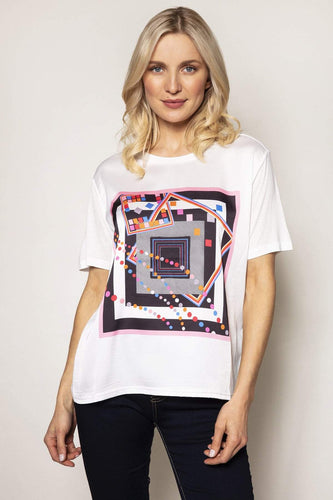 Rowen Avenue Tops White / S / 3/4 Length Sleeve Woven Front Tee in Abstract Print