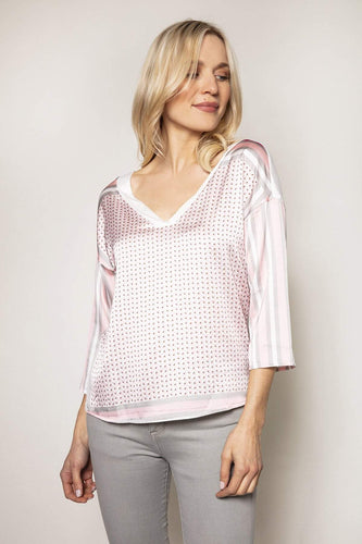 Rowen Avenue Tops Pink / S / 3/4 Length Sleeve Woven Front Tee in Pink